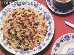 Bademli ve Üzümlü Pilav tarif tarifi